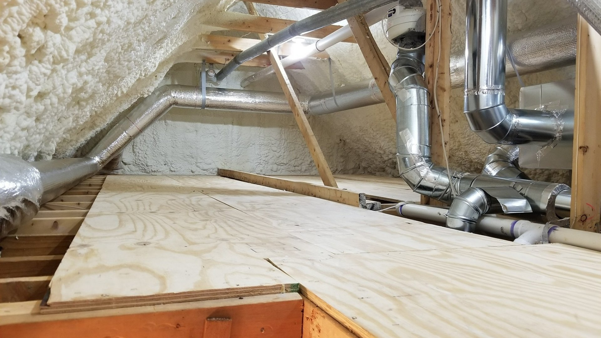 Completed Insulation and Duct Sealing During Attic Encapsulation