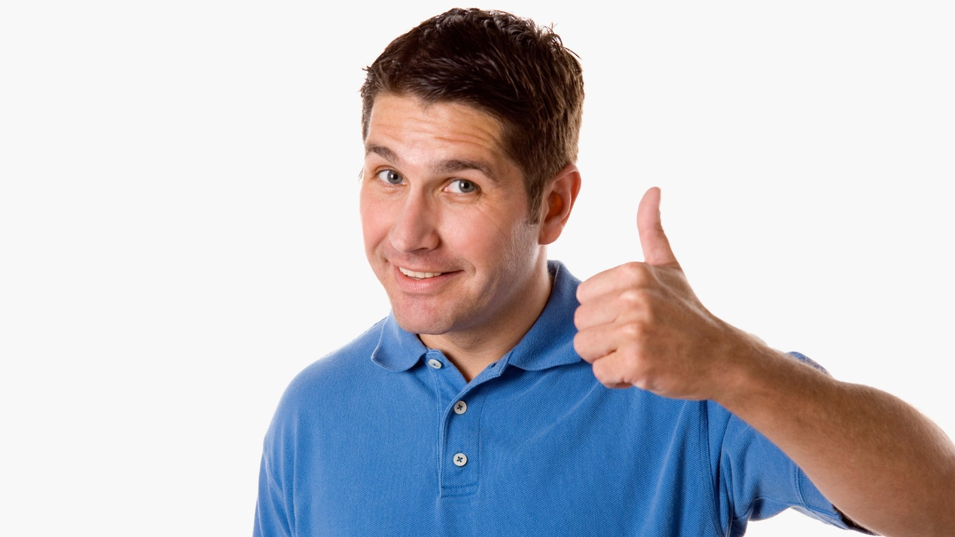 Man Giving Thumbs Up for Brand of Choice