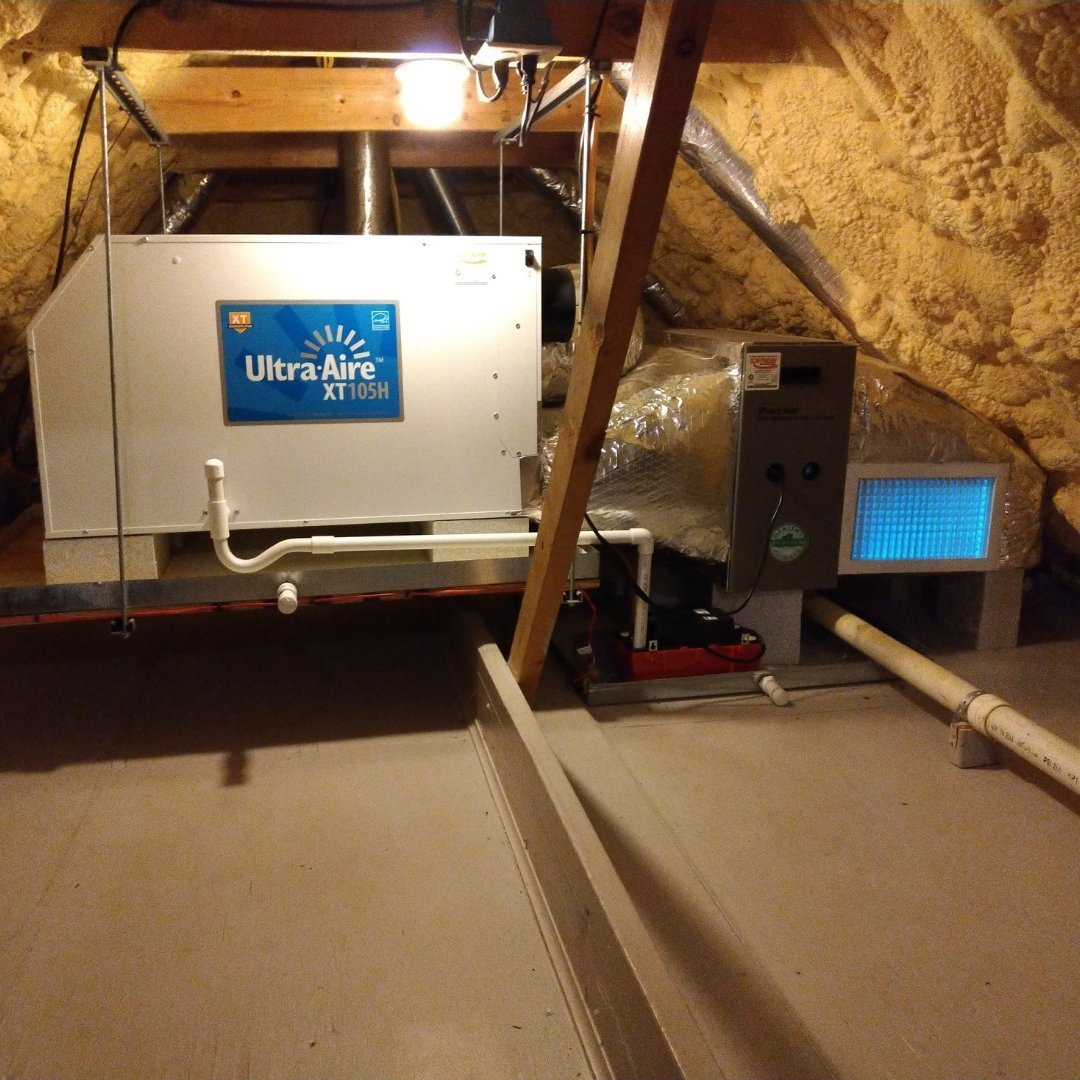 Air Purification, Dehumidifier, and Germicidal UV Lights in Attic Encapsulation - Gallery