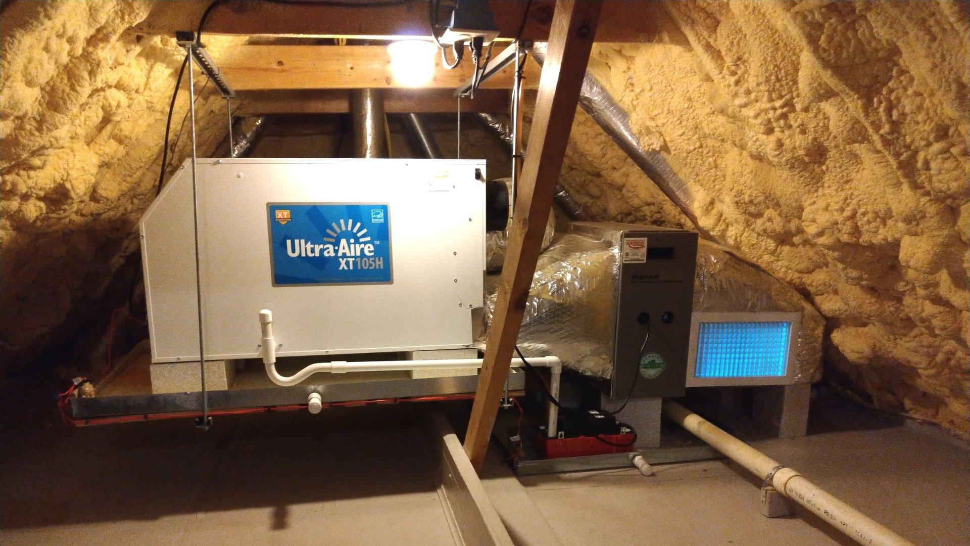 Dehumidifier and UV Lights Installed During Attic Encapsulation - Page Gallery